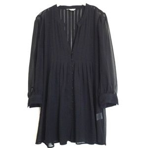 Joie Black Sheer Pleated Button Blouse